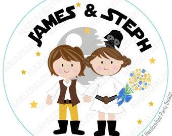 Stickers mariage Star Wars, imprimé personnalisé mariage Star Wars ronds autocollants, étiquettes ou nous avons atteint, mariée et le marié autocollants A1288