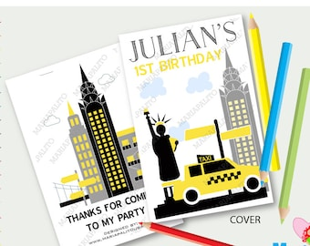 New York City 6 livres à colorier pour enfants personnalisés Party Favors, anniversaire Coloriage livre A1298