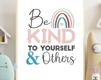 Be Kind to Yourself and to Others Poster   Printable Positive Affirmation Sign   Self Care Mental Health   Well being Download   M013