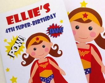 6 livres à colorier wonder Woman, Wonder Woman inspiré de super héros d'anniversaire Coloriage fête, personnalisé livres bonbonnières A1078