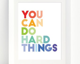You Can Do Hard Things Growth Mindset Poster   Mental Health Affirmation   Instant Download   Kids Motivation Sign    Classroom Poster M008