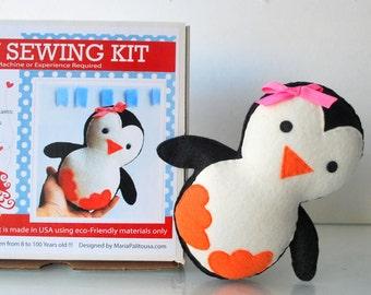 Kit de couture de pingouin, l'artisanat feutre enfants, Kit de couture de feutre dans une boîte, 8 + artisanat ans, pas besoin de machine à coudre, A818