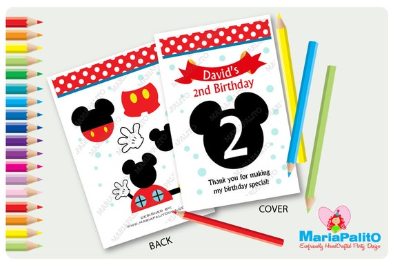 6 Mickey Mouse Coloring Books Personalized Coloring Books Etsy