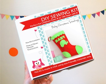 Christmas Stocking Sewing Kit, Felt Kids' Crafts, Felt Sewing Kit in a Box, 8+ years old craft, No need sewing machine A763