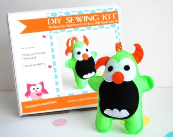 Monster Sewing Kit, Felt Kids' Crafts, Felt Sewing Kit in a Box, 8+ years old craft, No need sewing machine, A683