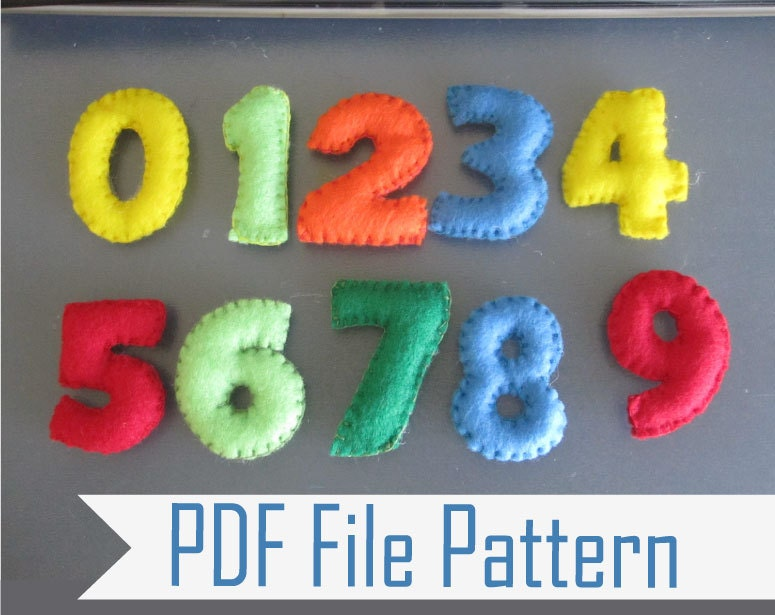 Felt Number Sewing Pattern Learning The Numbers From 1 To 9 Etsy