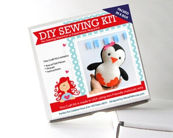 Penguin Sewing Kit, Felt Kids' Crafts, Felt Sewing Kit in a Box, 8+ years old craft, No need sewing machine, A818