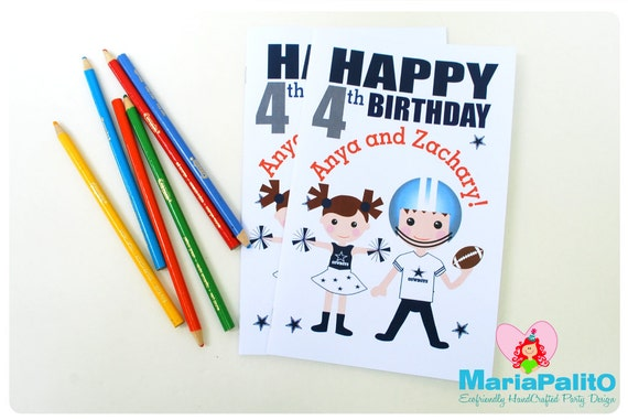 6 Football Coloring Books Football Team Party Personalized Coloring