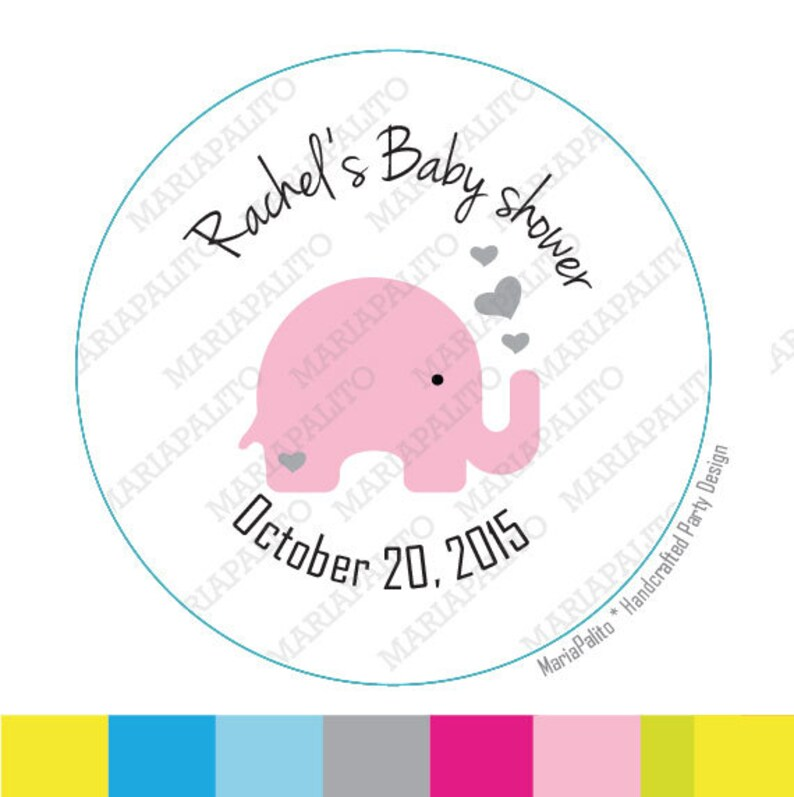 Personalised Baby Girl Shower Stickers Elephant Birth Envelope Pink Labels Seals