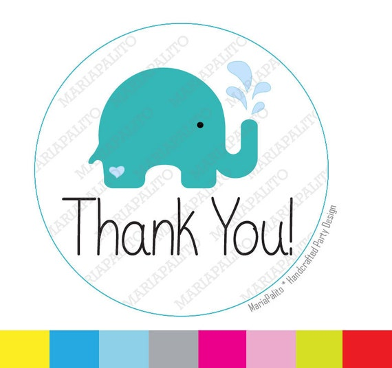 Elephant Thank You Stickers Baby Shower Stickers Elephant Etsy