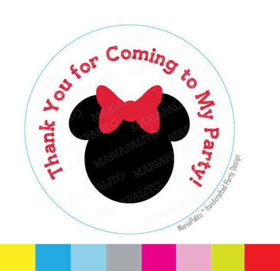 minnie mouse stickers thank you for coming to my party etsy