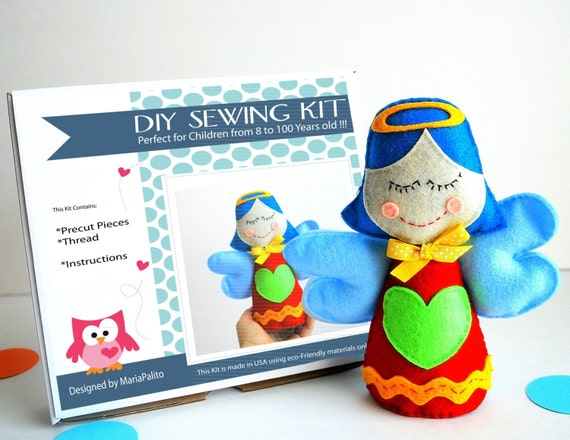 Angel Sewing Kit Felt Kids Crafts Felt Sewing Kit In A Etsy