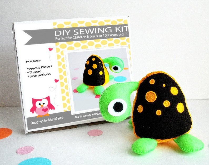 Turtle Sewing Kit Felt Kids Crafts Felt Sewing Kit In A Etsy