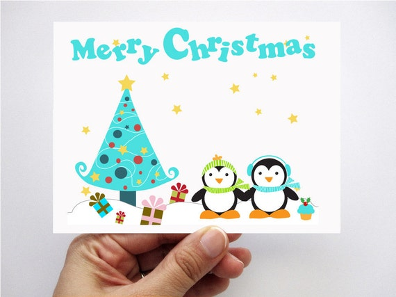 Children Christmas Cards.Penguin Christmas Cards Printed Cards Kids Cards Merry