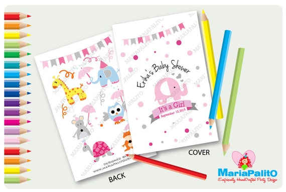 Elephant Coloring Books Baby Shower Coloring Books Personalized