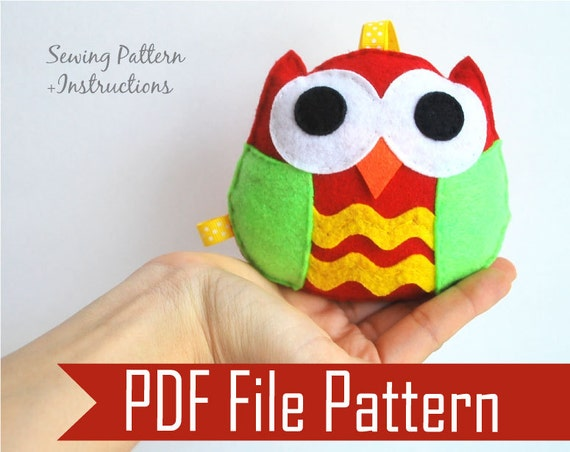 Felt Owl Pattern Ornament Rattle Baby Toy Pdf Sewing