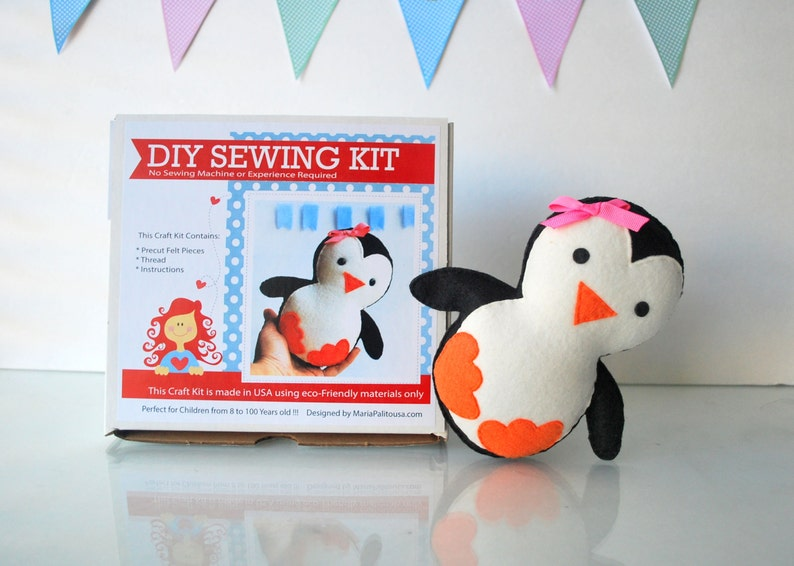 Penguin Sewing Kit Felt Kids Crafts Felt Sewing Kit In A Box 8 Years Old Craft No Need Sewing Machine A818