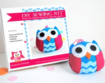 Owl Sewing Kit, Felt Kids' Crafts, Felt Sewing Kit in a Box, 8+ years old craft, No need sewing machine, A681