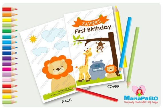 6 Jungle Coloring Book, Animals Party Theme Personalized Coloring Books,  Party Favors A1188