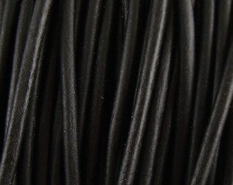 1mm Black Leather Cord, Round Leather Cord, Genuine Leather Cord, Natural Dye, Lead Free Leather, Soft Leather Cord, Choose Length