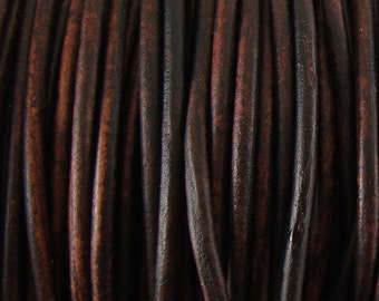 3mm Antique Brown Leather Cord, Round Leather Cord, Genuine Leather, Soft Leather Cord, Lead Free, Choose Length - By the Foot