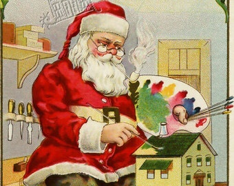 Set of 5 Victorian Holiday OPEN HOUSE PRINTABLE Graphics - Santa, Toys, Baking