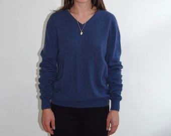 vintage blue v-neck cashmere sweater
