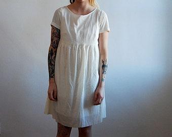 vintage creme empire waist short sleeve dress