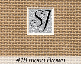 """18"""" x 20"""" Zweigart #18 deluxe mono canvas BROWN or TAN for needlepoint– blank for you to stitch or paint!"""