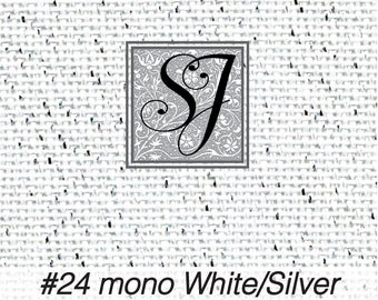 18x25 Zweigart Needlepoint Canvas #24 Congress Cloth WHITE w SILVER METALLIC blank for you to stitch or paint!
