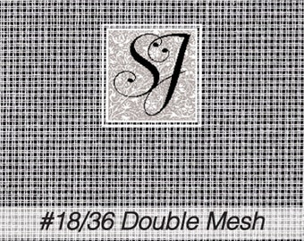 """18"""" x 24"""" WHITE Zweigart #18/36 double mesh penelope canvas for needlepoint– blank for you to stitch or paint! 1/2 yard for petit point"""