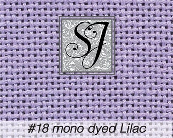 """17"""" x 31"""" Zweigart #18 deluxe mono canvas hand-dyed LILAC for needlepoint– blank for you to stitch or paint!"""