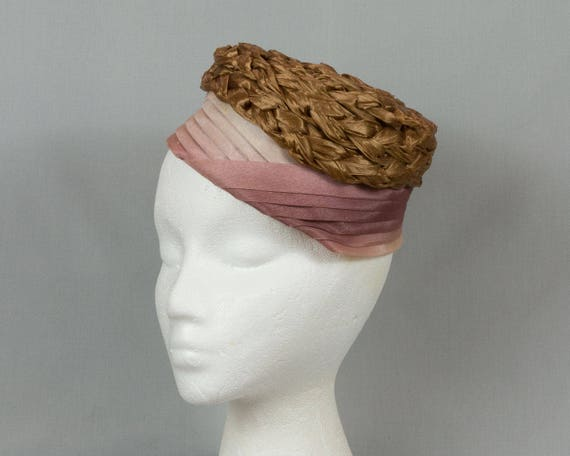 Vintage Classic Vertical Pleated Satin Pillbox Hat by Livingston Bros