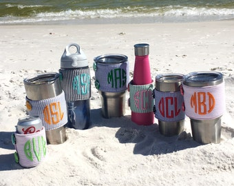 Set of 7 PERSONALIZED Mongrammed Beverage Huggie- {Choose your seersucker & thread color!} FREE SHIPPING