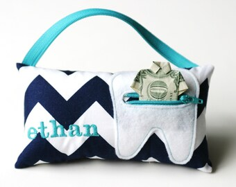Navy Chevron Personalized Tooth Fairy Pillows