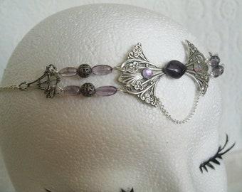 Dark Sapphire Blue Crystals Silver Celtic Flourish Elven Elf Elvish Art Nouveau Gothic Goth Headpiece Headdress Circlet Crown Tiara Headband