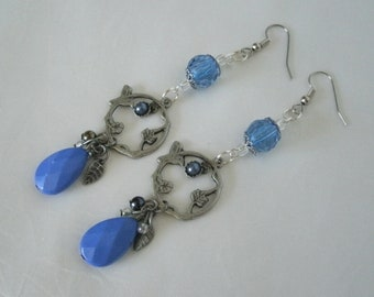 Blue Bird Earrings, boho jewelry gypsy jewelry bohemian jewelry hippie jewelry boho earrings bohemian earrings hippie earrings pin up