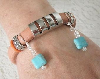 Turquoise Leather Bracelet, boho jewelry bohemian jewelry hippie jewelry gypsy jewelry boho bracelet bohemian bracelet hippie bracelet