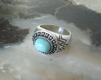 Turquoise Ring, boho ring bohemian ring hippie ring gypsy ring western ring turquoise jewelry boho jewelry bohemian jewelry silver ring