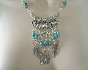 Turquoise Feather Necklace, southwestern jewelry southwest jewelry turquoise jewelry native american jewelry style country western cowgirl