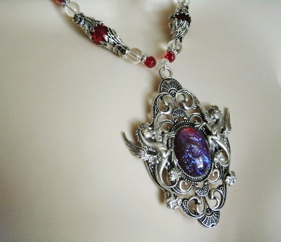 Steampunk Necklace Purple Fire Pendant Charm Locket Jewelry Wicca Victorian Goth