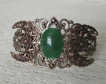 Green Agate Copper Cuff Bracelet copper jewelry boho jewelry bohemian jewelry hippie bracelet gypsy bracelet bohemian bracelet boho bracelet