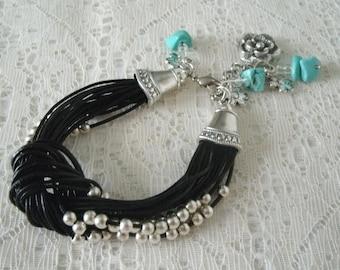Leather Bracelet boho jewelry gypsy jewelry bohemian jewelry hippie jewelry turquoise new age boho bracelet bohemian bracelet gypsy bracelet