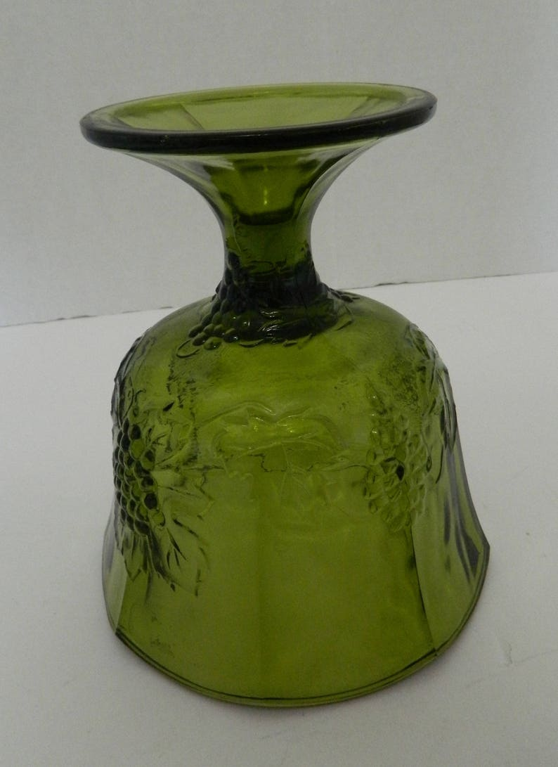 Indiana Glass Harvest Green Pressed Harvest Grape Design Planter Compote Concord