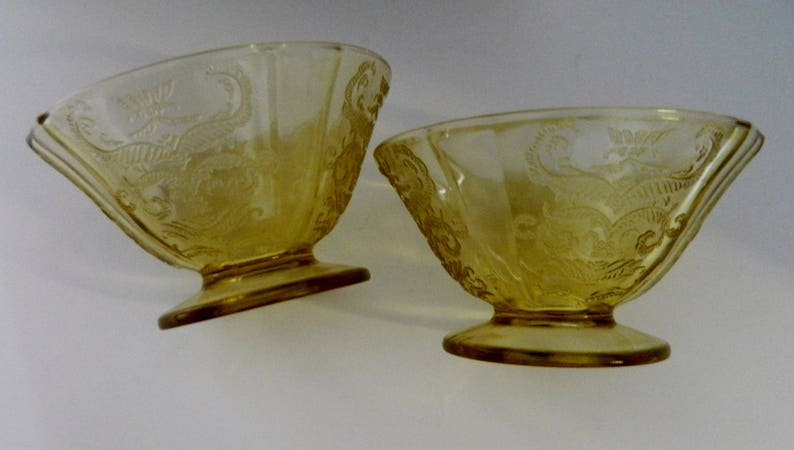 2c1fdbc102 Federal Glass Madrid Footed Cone Sherbet Dishes Yellow Amber