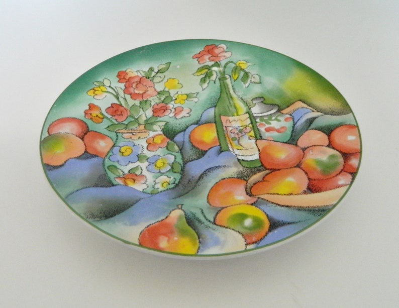 Sakura Zinfandel Sue Zipkin Wine Bottle Fruit Floral Decor Salad Luncheon Plate