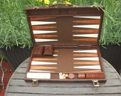 Vintage Antique Backgammon Game Portable Briefcase Travel Butterscotch Swirl Dice