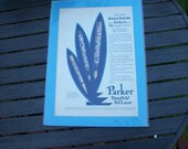Vintage Antique Magazine Advertising with Light Cardboard and Plastic Covering Parker Pens Duofold De Luxe