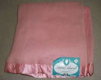 Vintage 1950's Never Used New with Tag Near Mint Condition Wool Rayon Blanket Prudence Pepperell Satin Binding Blanket Pink Dusty Rose
