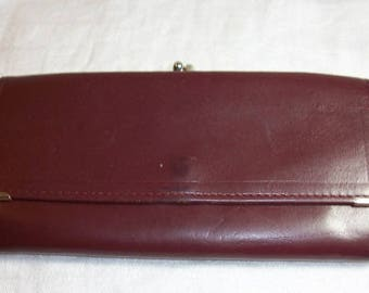 Vintage Maroon Burgundy Princess Gardner Leather Women's Wallet Cowhide